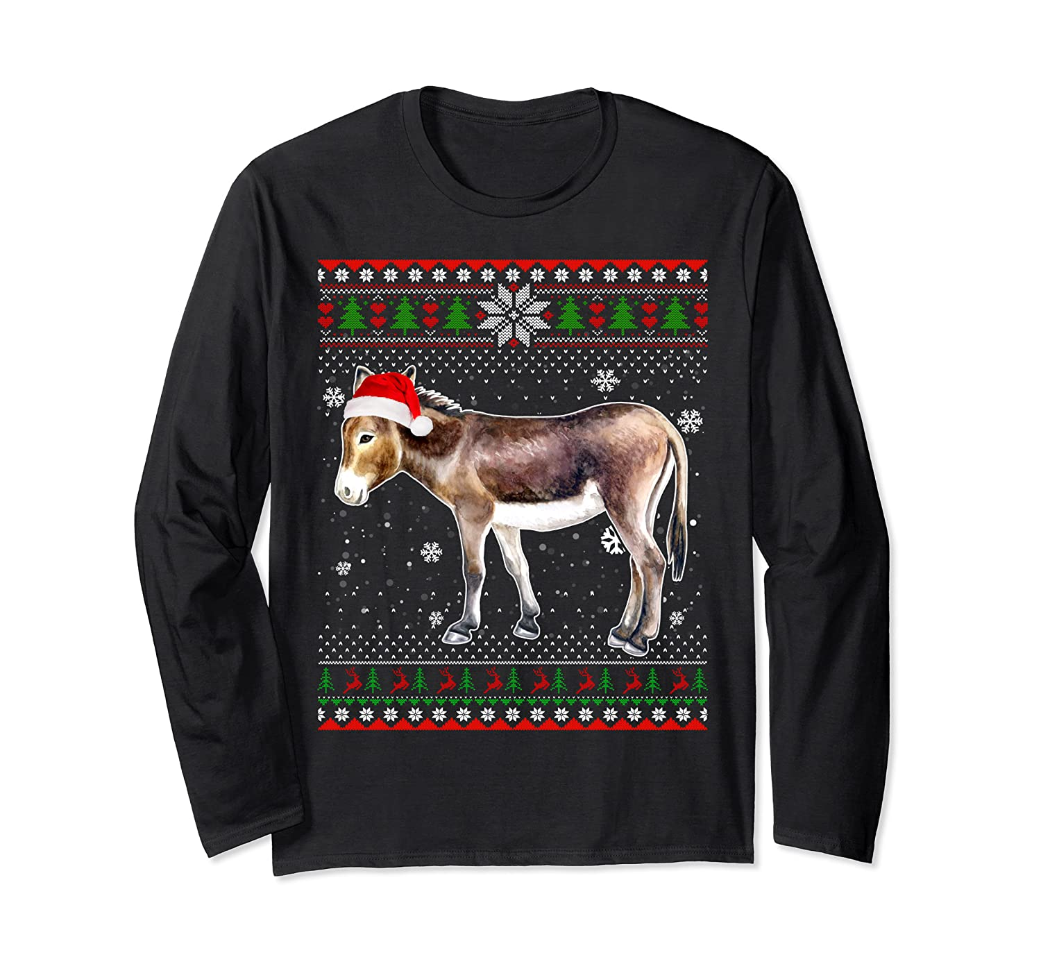 Merry Christmas Donkey Santa Hat In Snow Ugly Sweater Long Sleeve T-shirt